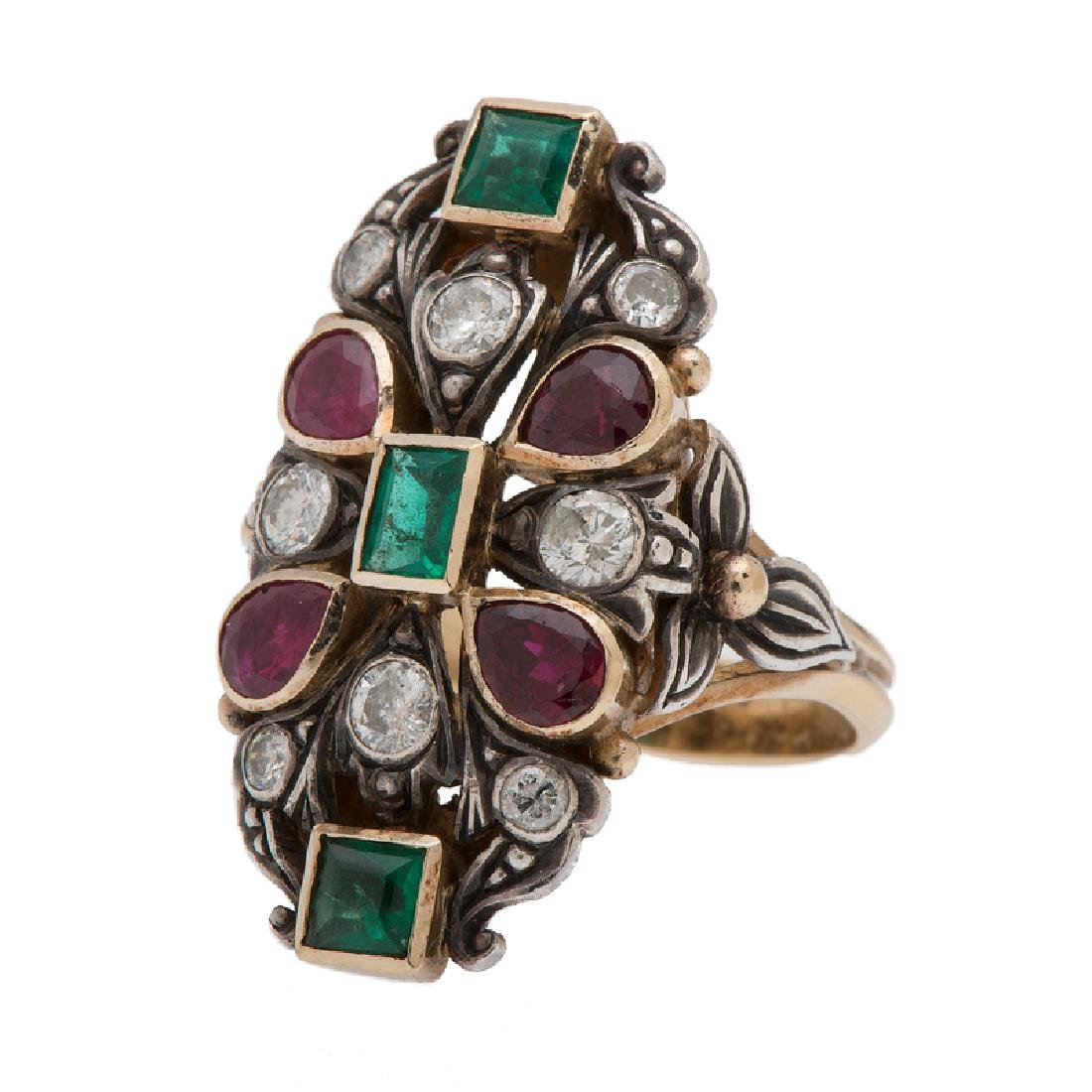 Diamond, Ruby, and Emerald Ring in 18 Karat Gold and