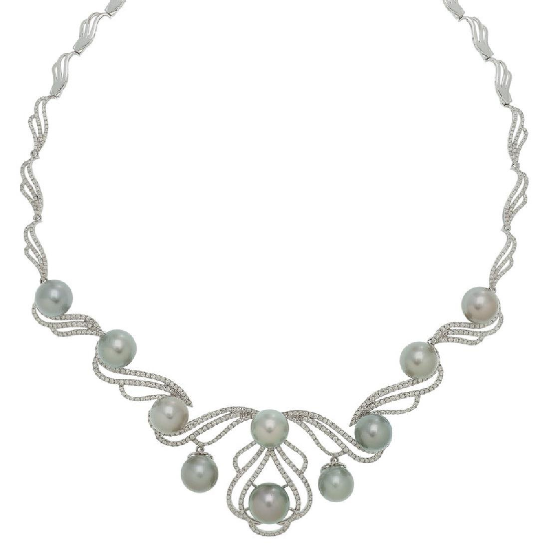 Orianne Cultured South Sea Pearl and Diamond Necklace