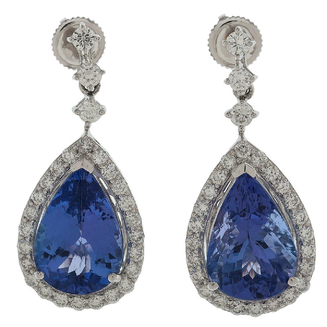 Tanzanite and Diamond Earrings in Platinum