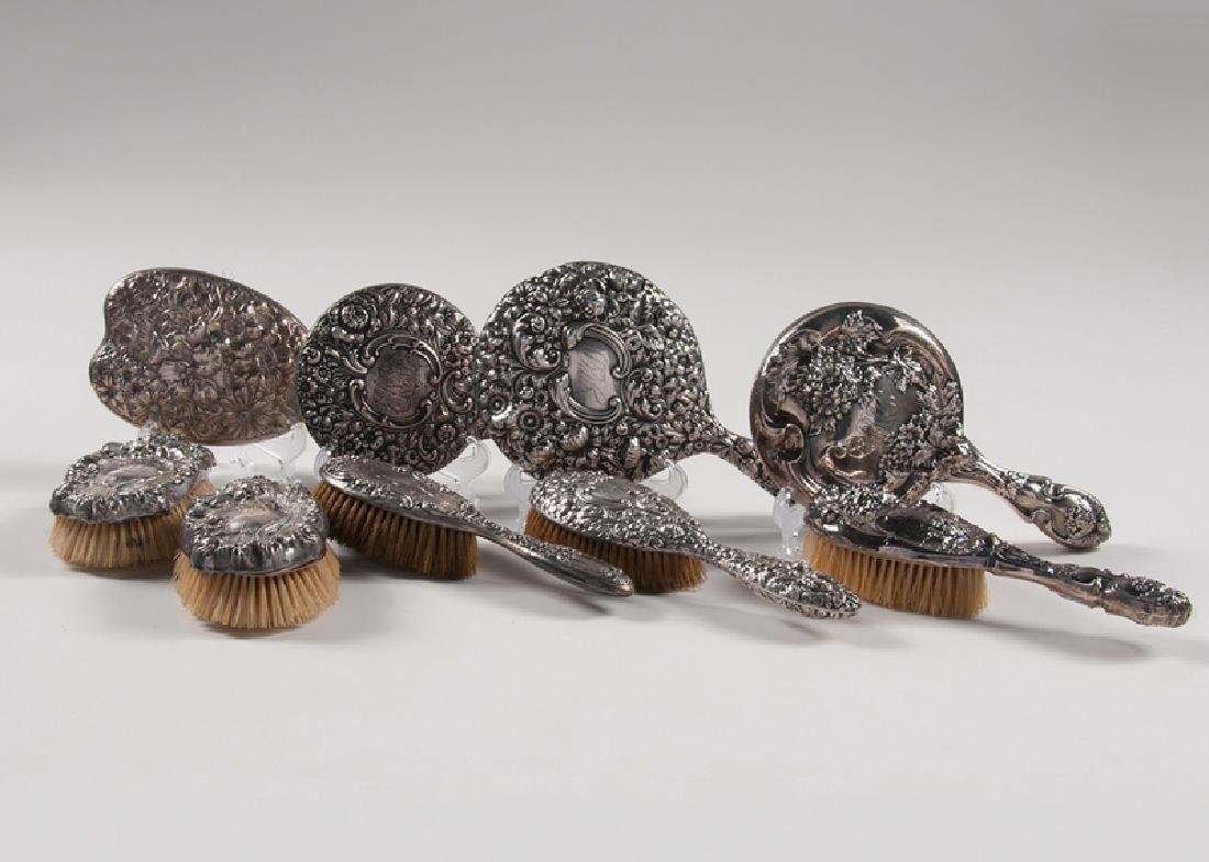 Ornate Sterling Hand Mirrors and Brushes