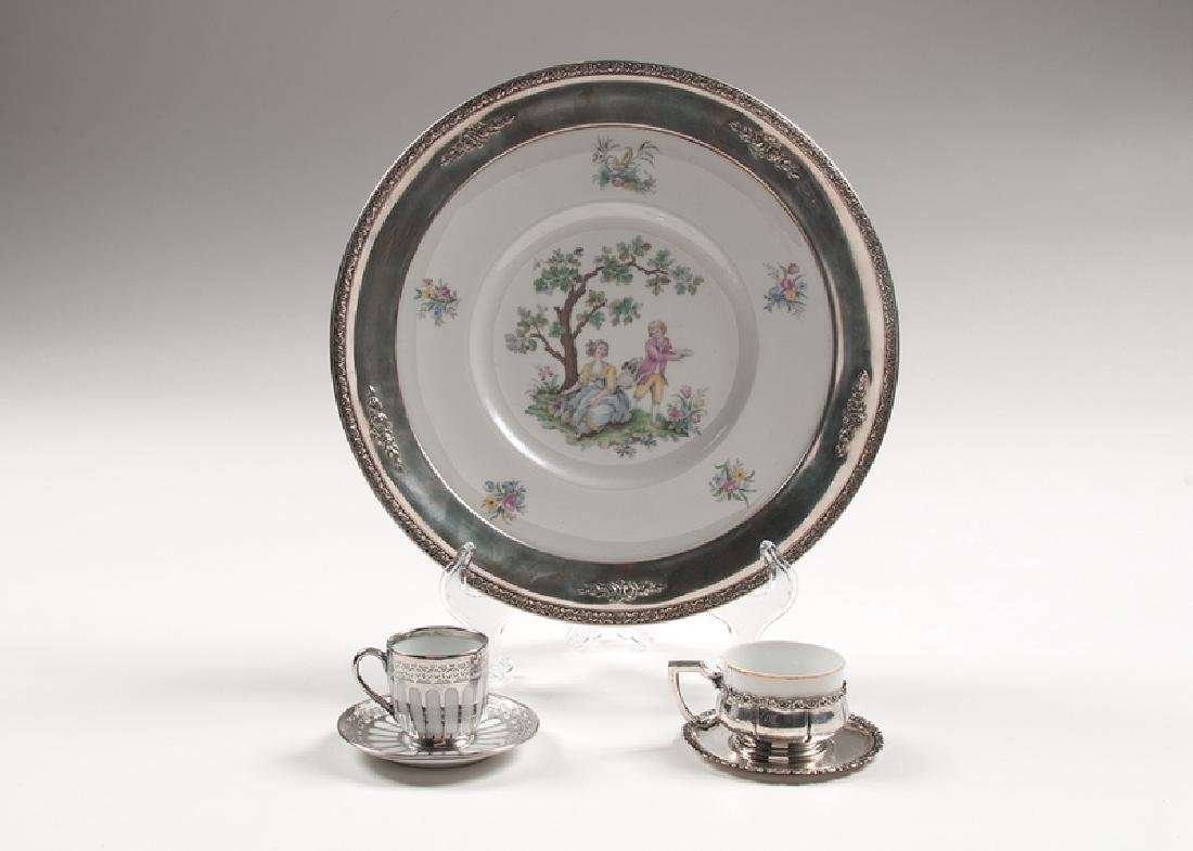 Silver-Clad Porcelain Plate and Demitasse Cups