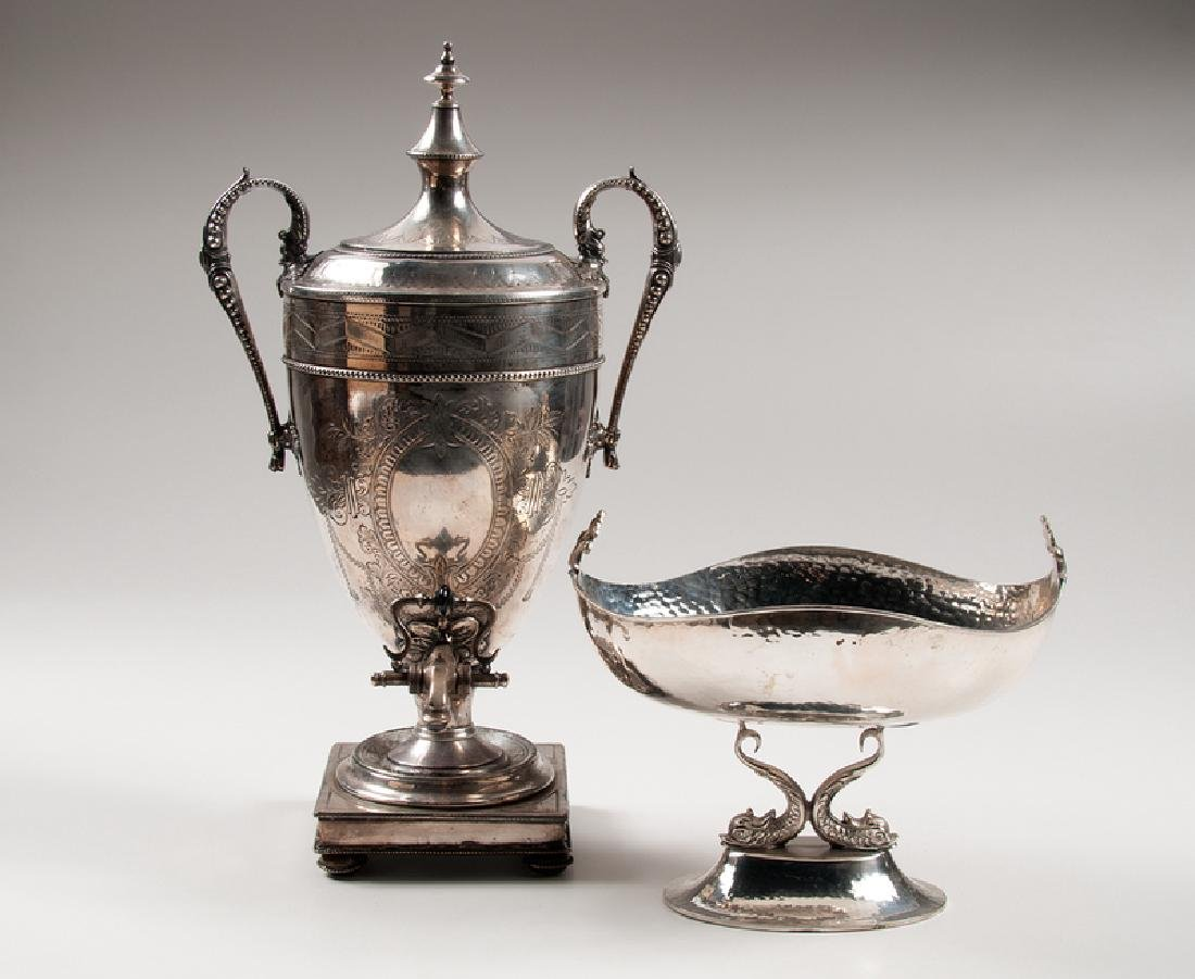 Silverplated Hot Water Urn and Center Bowl