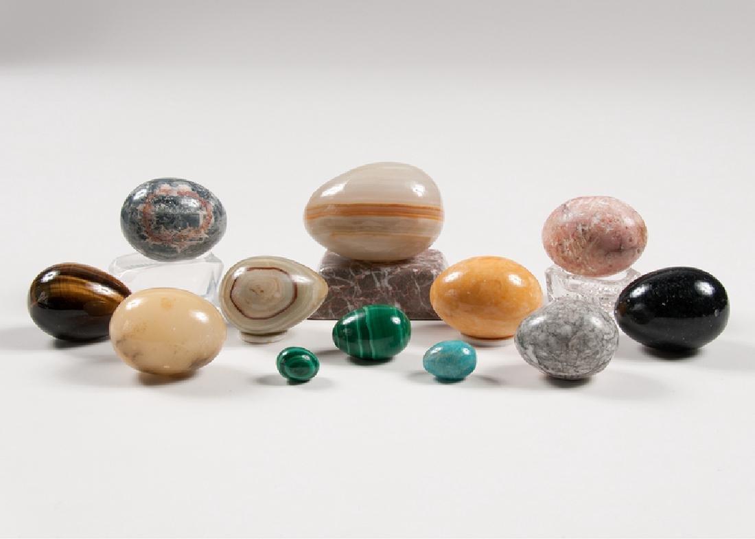 Stone, Malachite, and Glass Eggs