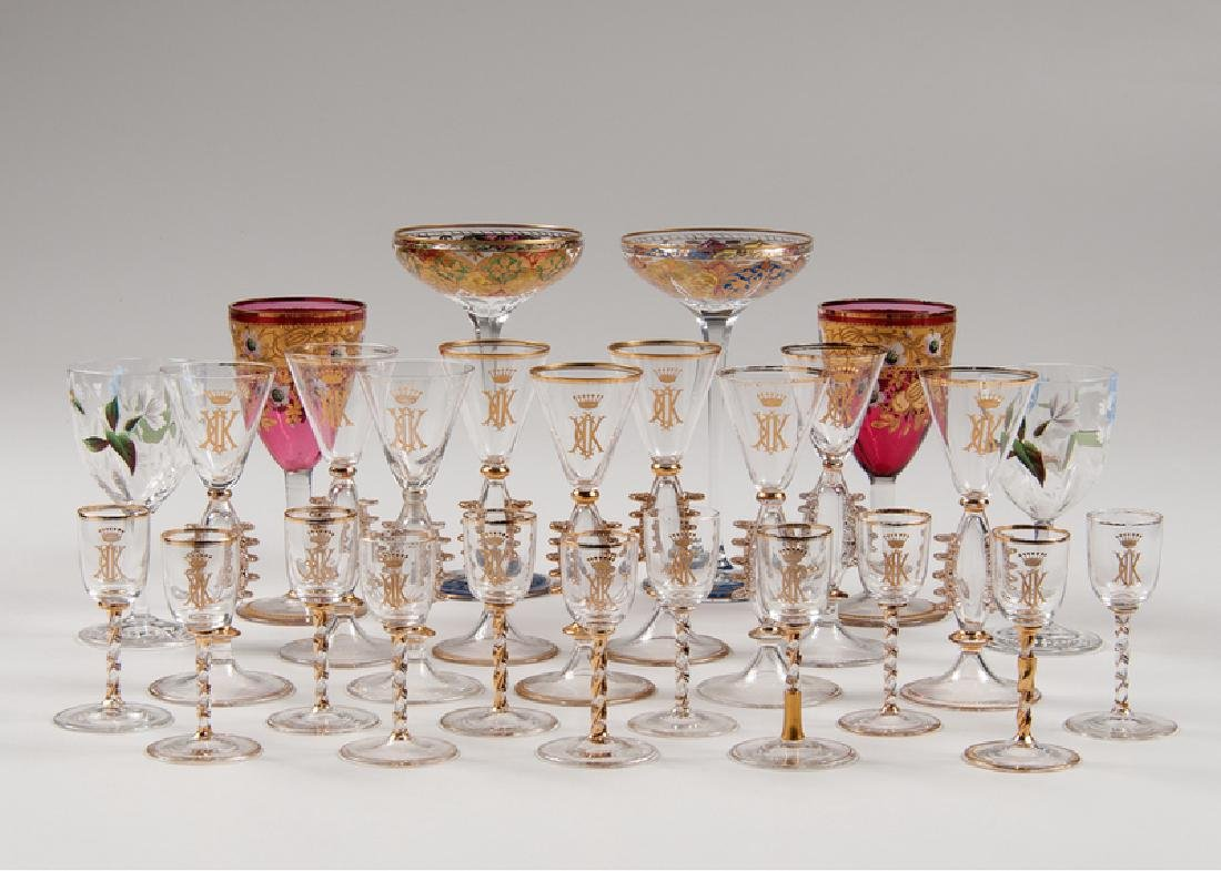 Clear Gilded Cordials and Sherry Glasses, Plus