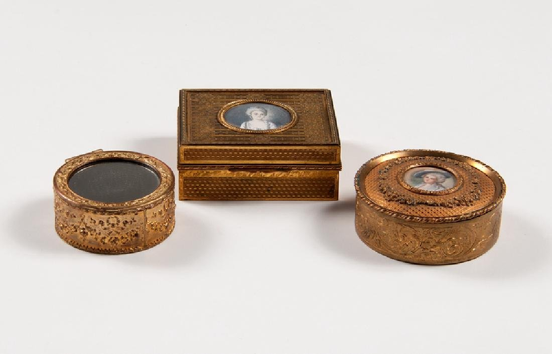Continental Bronze Boxes with Ivory Miniatures, Plus