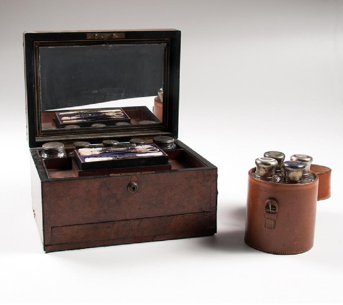 British Vanity Traveling Boxes with Accessories