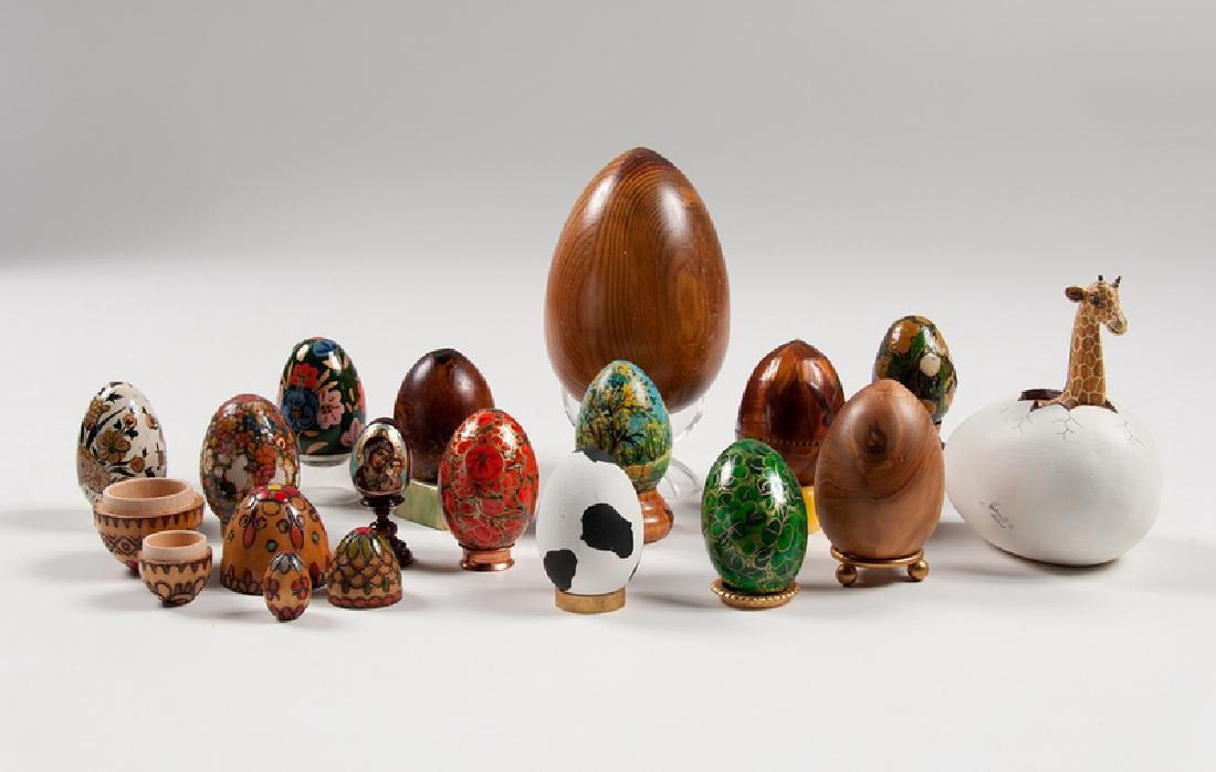 Decorative Painted Wood Eggs, Plus