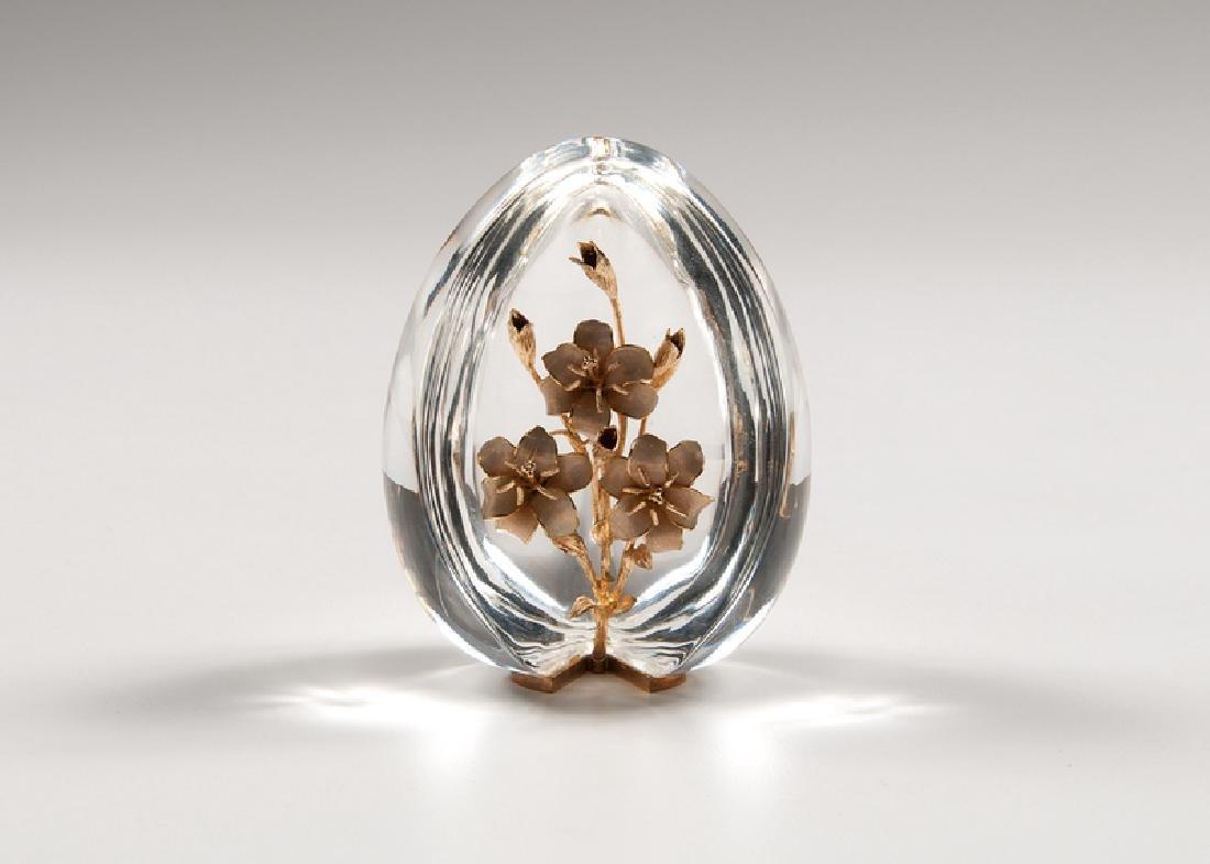 Steuben Crystal Egg with 18K Gold Floral Decoration