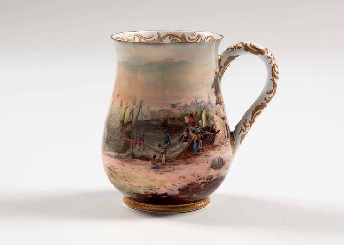 Enamel on Copper Mug with Nautical Scene