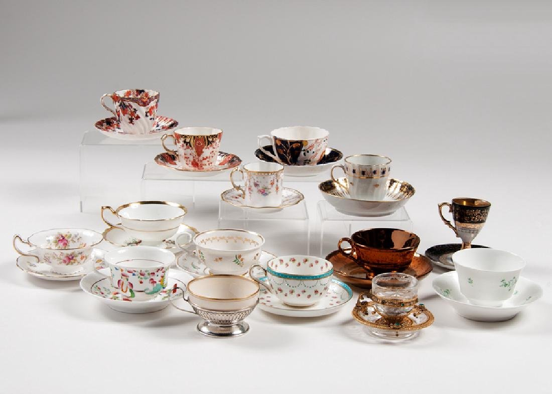 Porcelain Teacups and Saucers, Plus