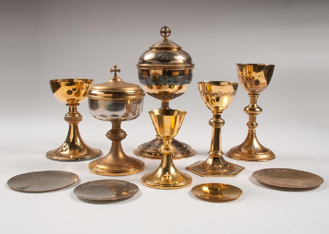 Silver and Brass Chalices and Patens