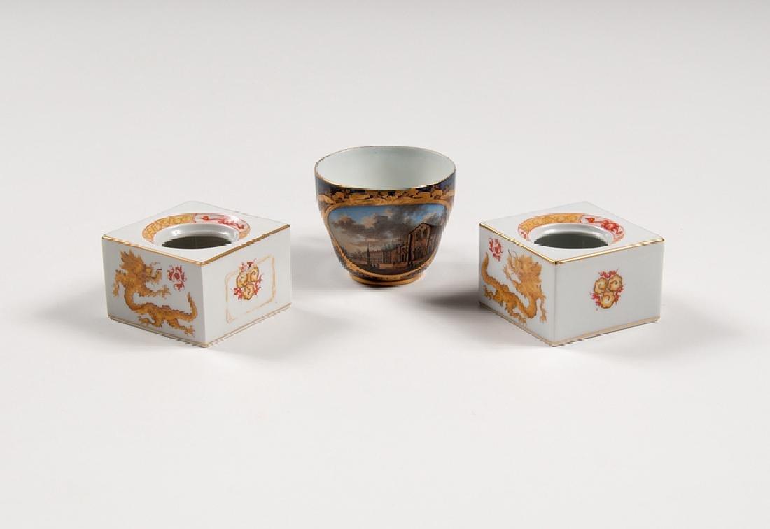 Meissen Porcelain Teacup and Inkwells
