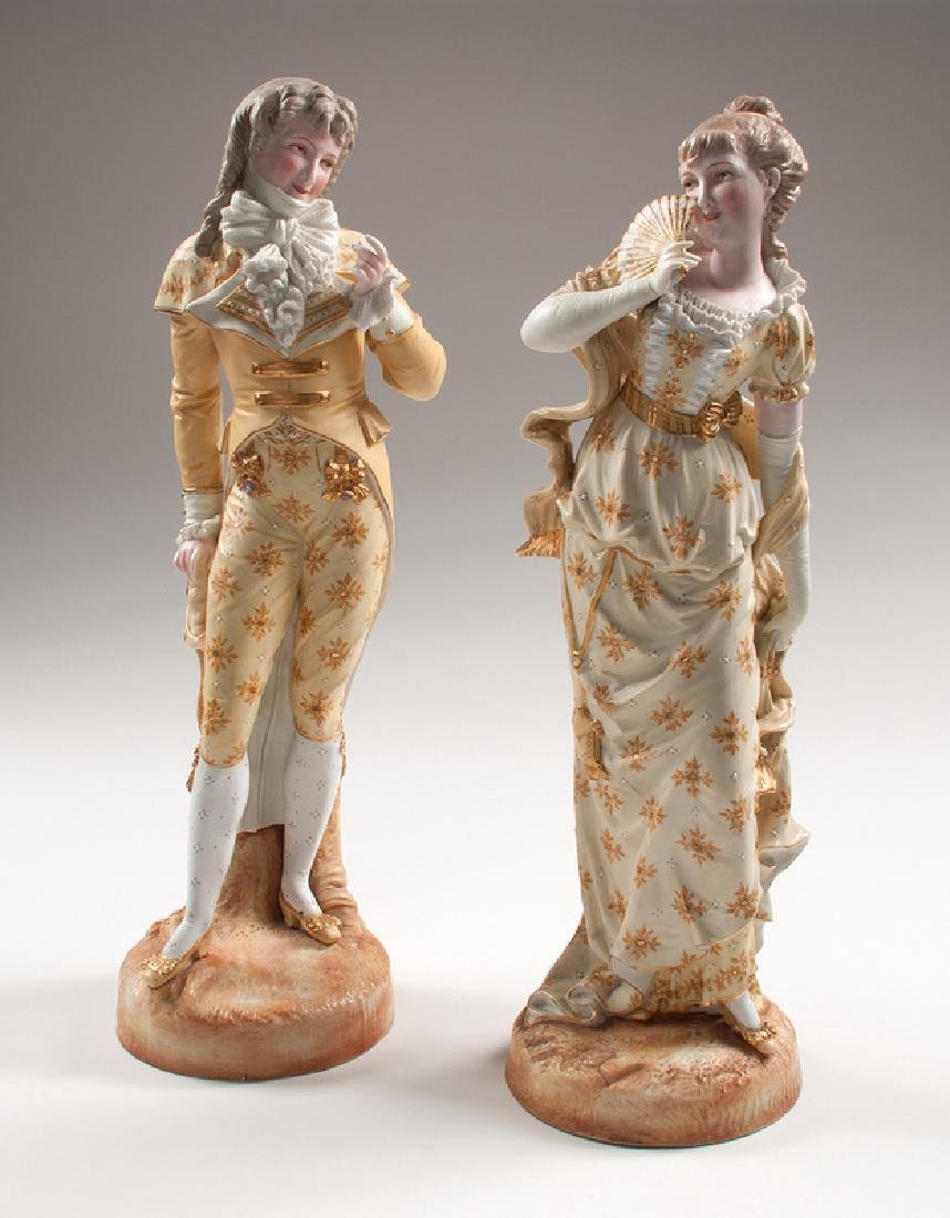 Sitzendorf Courting Couple Bisque Figures
