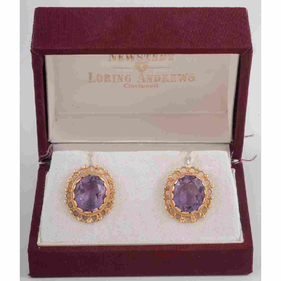 Amethyst Earrings in 14 Karat Yellow Gold 6.70 Dwt.