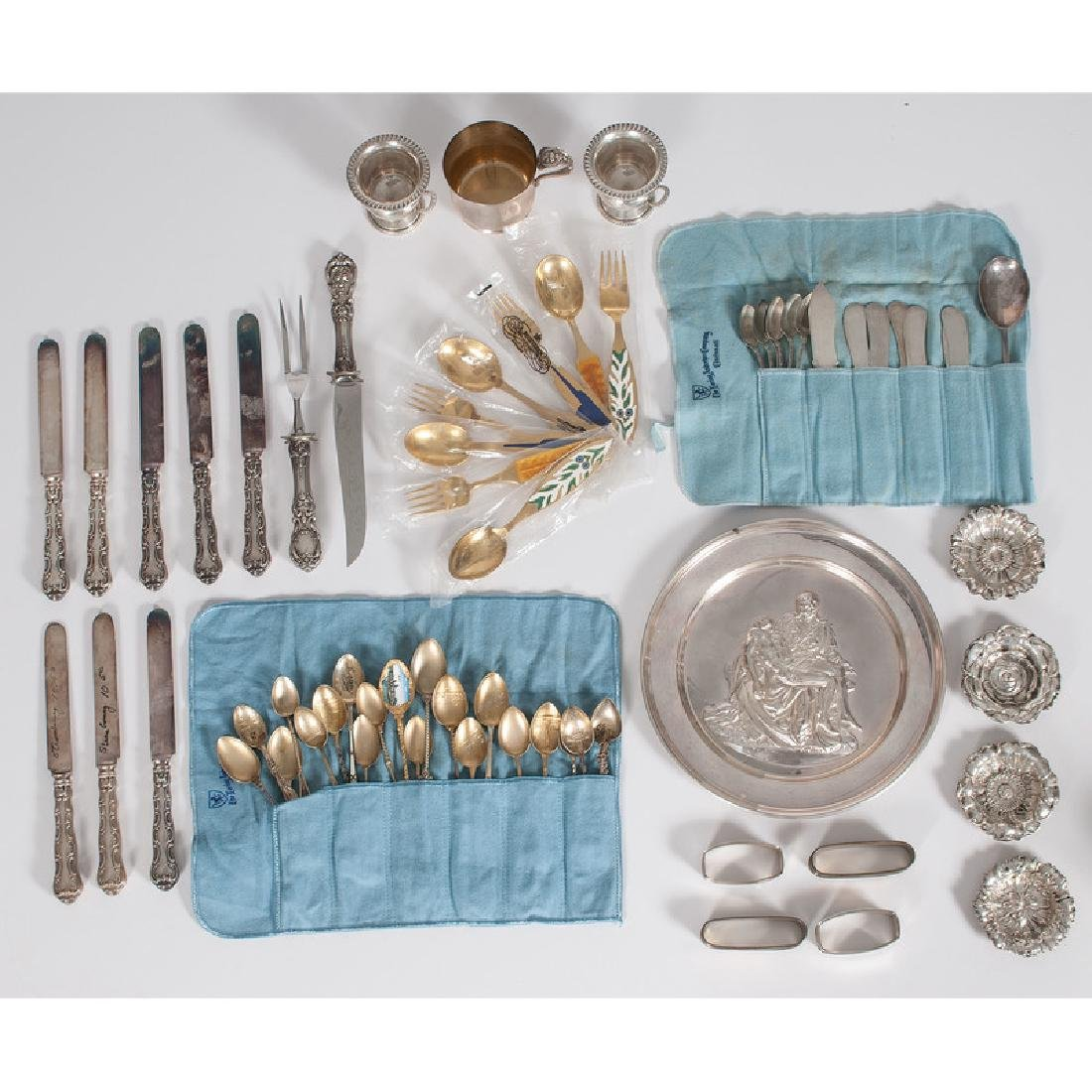 Assorted Sterling Flatware, Pieta Plate and Other Items