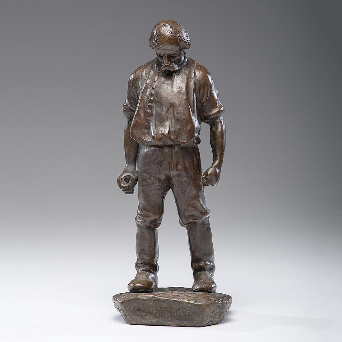 Hungarian Bronze of a Blacksmith, Signed Nagy