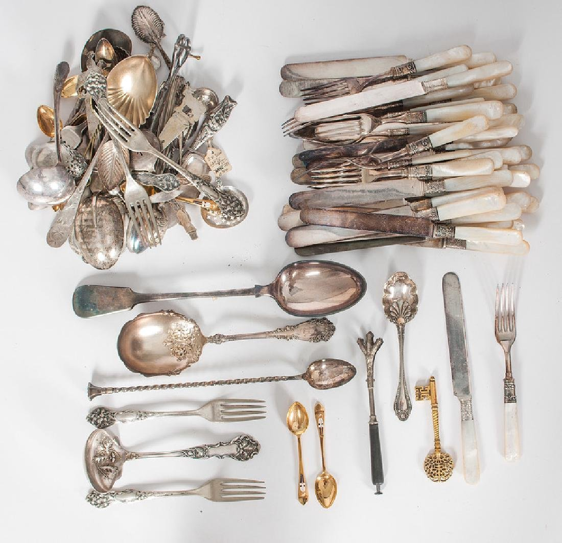 Mother of Pearl Handled Flatware and Other Silverplate