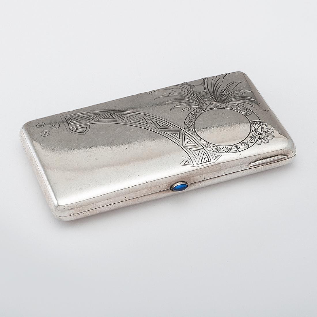 Russian Silver Cigarette Case with Sapphire Cabochon