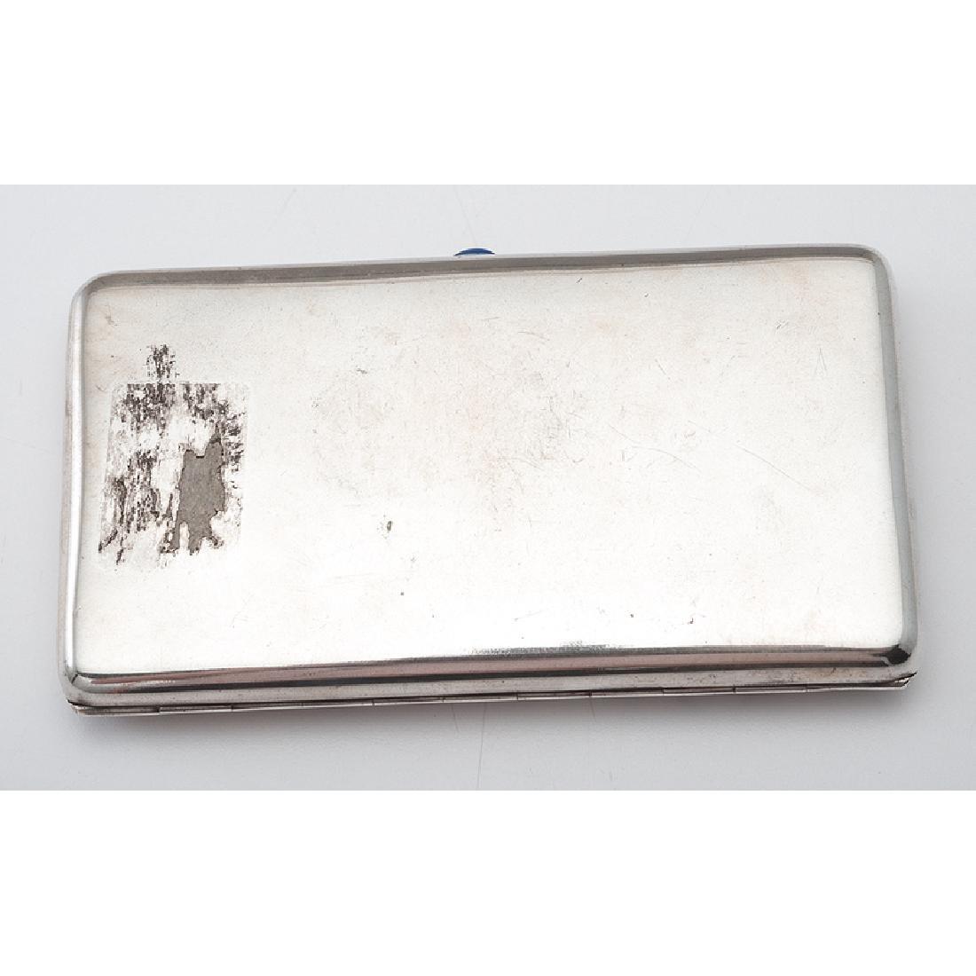 Russian Silver Cigarette Case with Sapphire Cabochon - 2