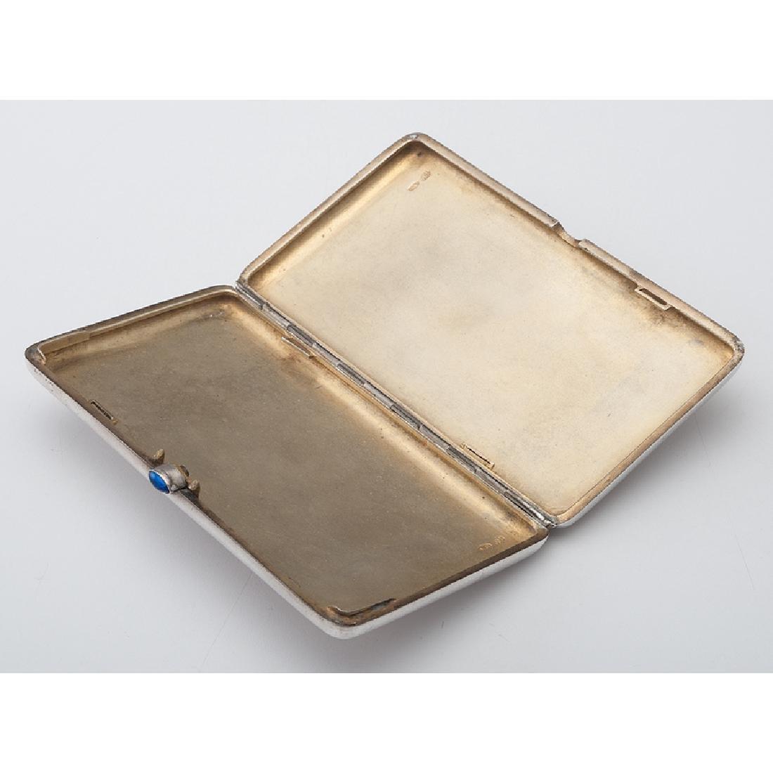 Russian Silver Cigarette Case with Sapphire Cabochon - 3