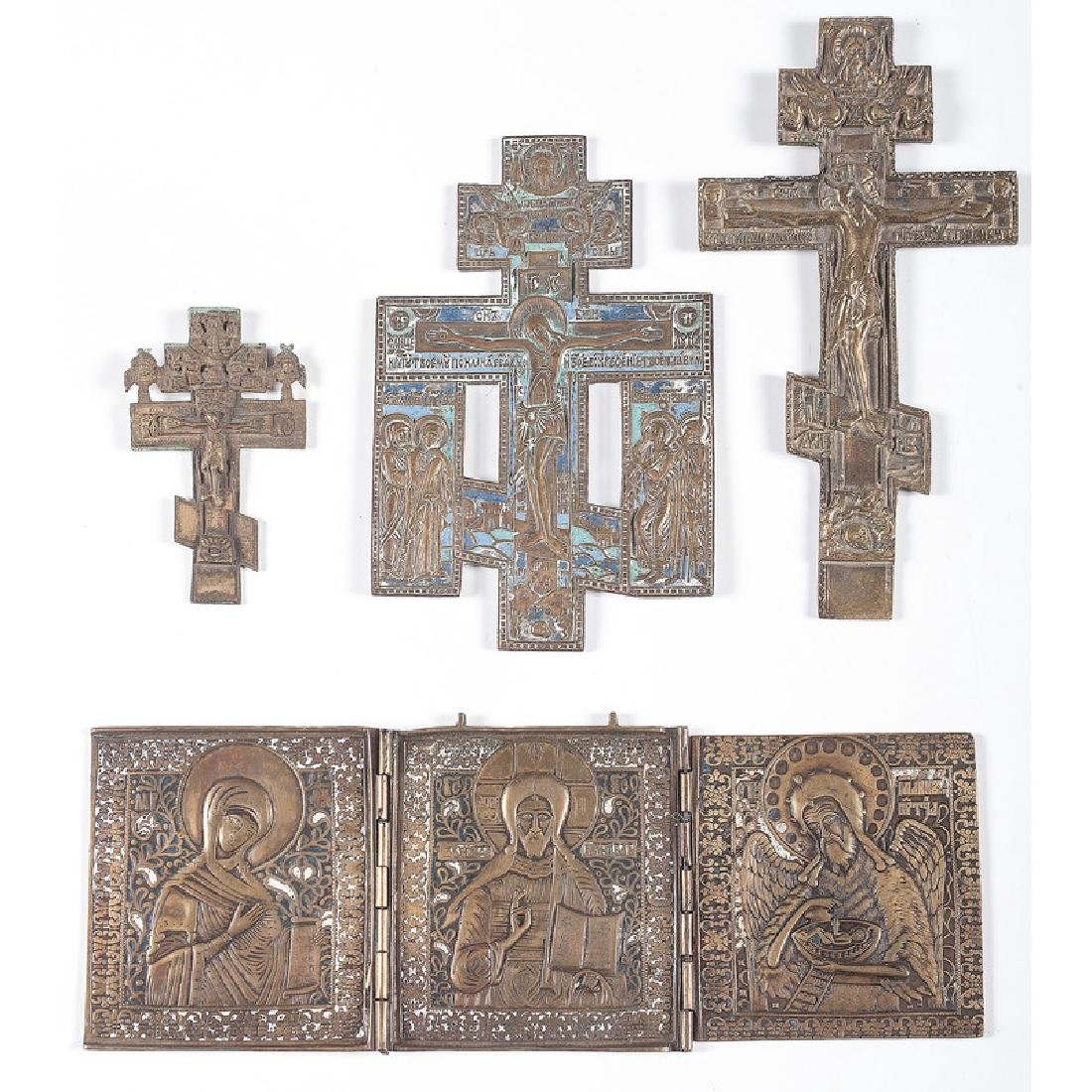 Bronze and Enamel Russian Orthodox Ornaments