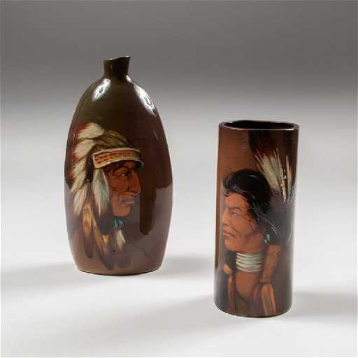 Rick Wisecarver American Indian Portrait Vase And