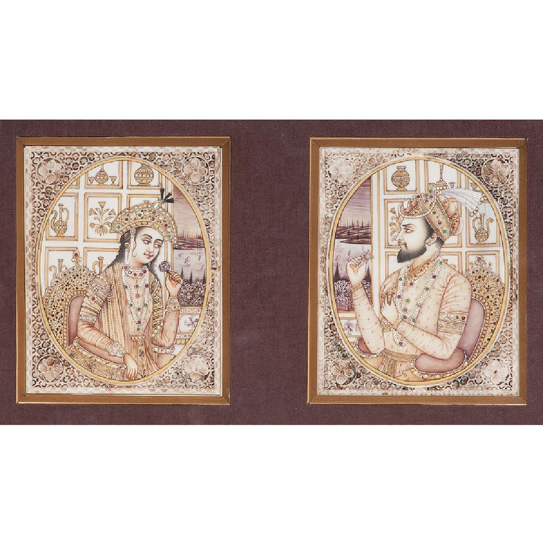 Indian School Portraits of Shah Jahan and Mumtaz Mahal