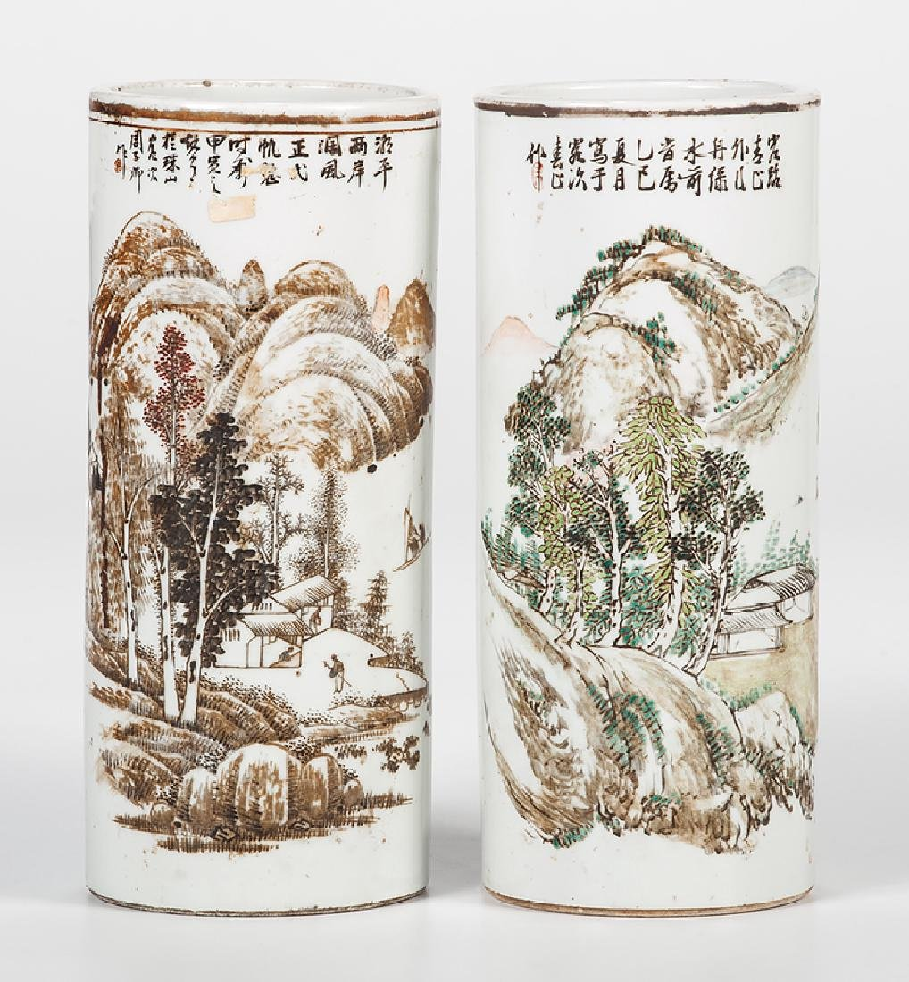 Chinese Republic Period Porcelain Brush Pots