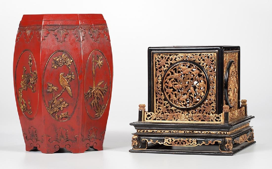 Chinese Lacquer Altar and Stool