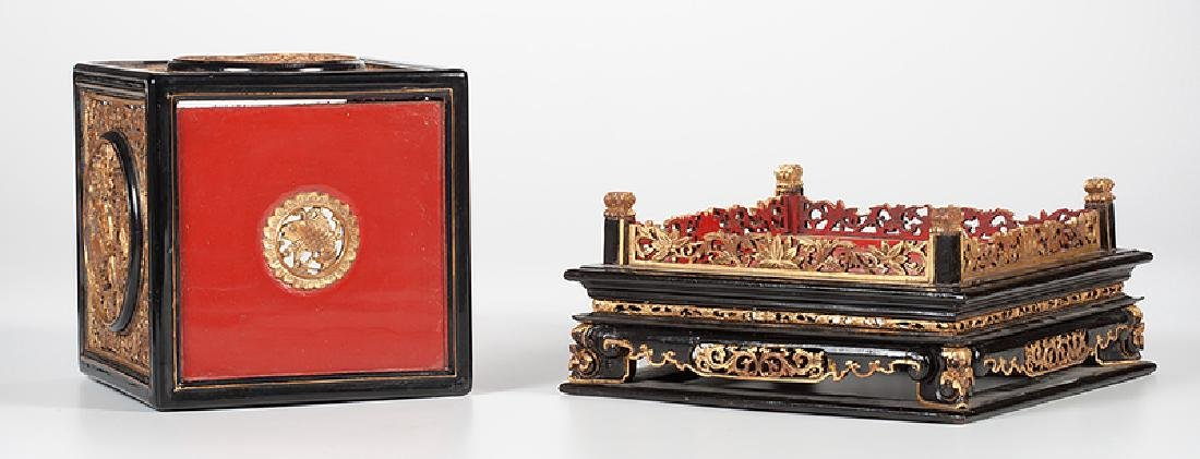 Chinese Lacquer Altar and Stool - 4