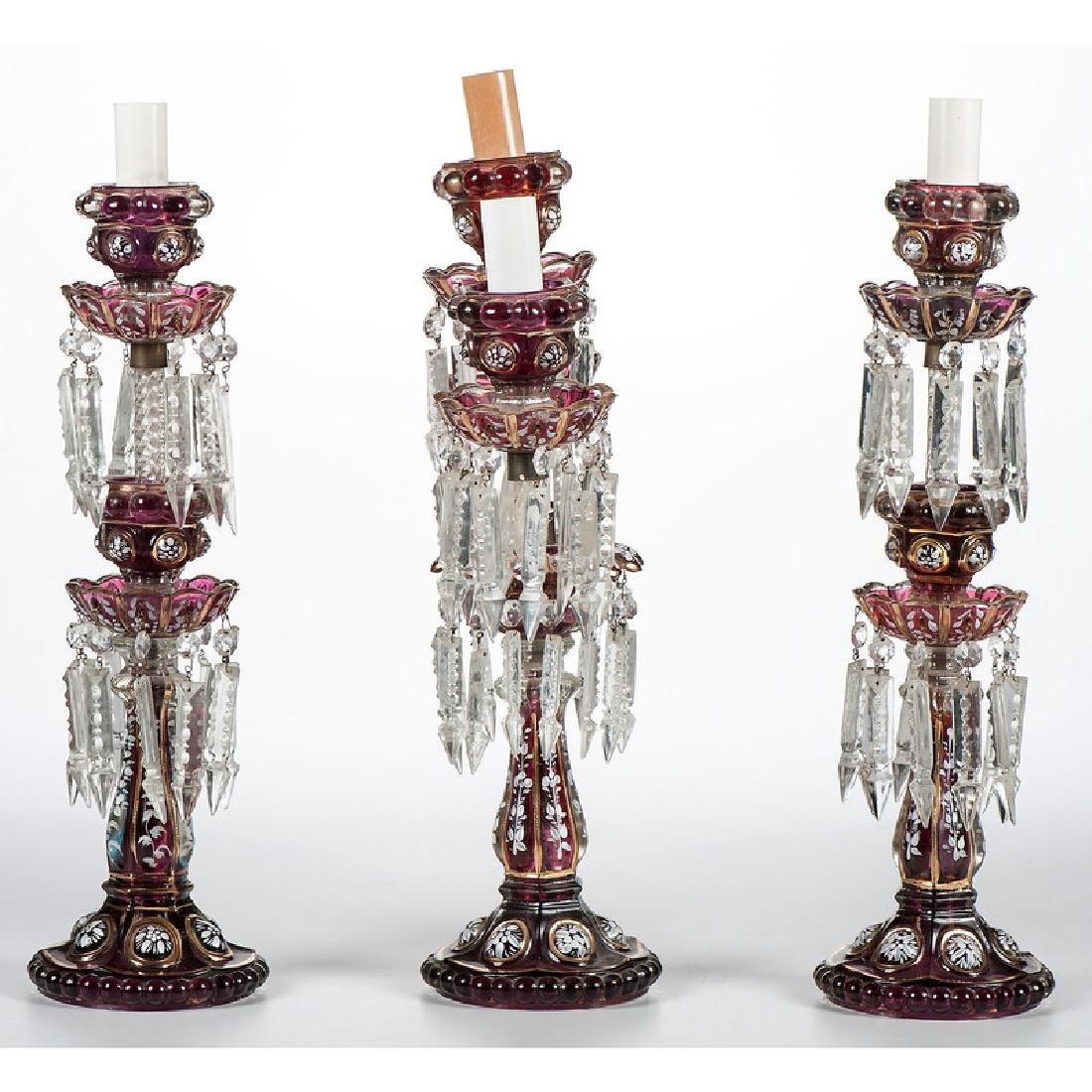Bohemian Glass Candelabra and Sticks - 2