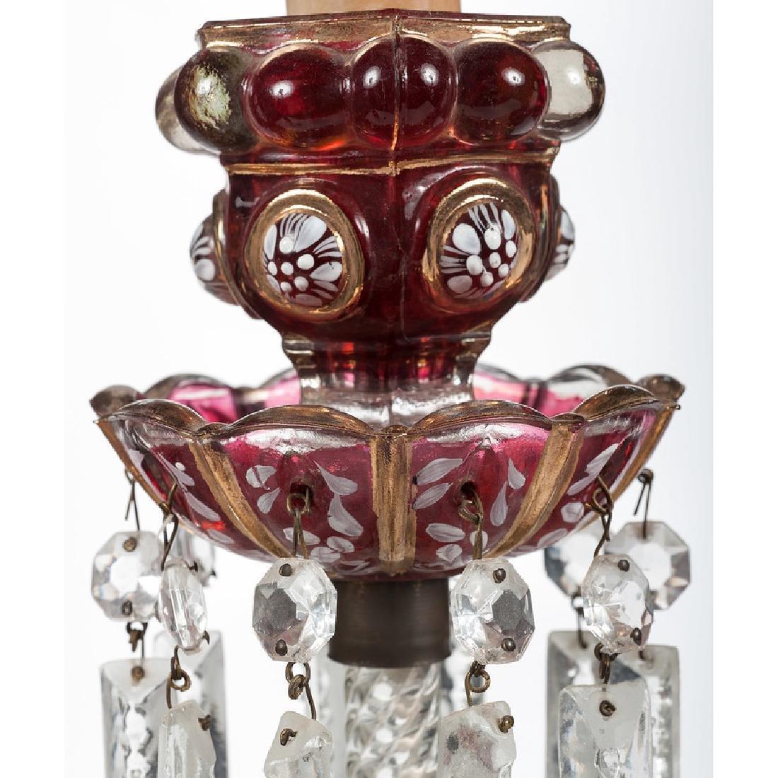 Bohemian Glass Candelabra and Sticks - 3