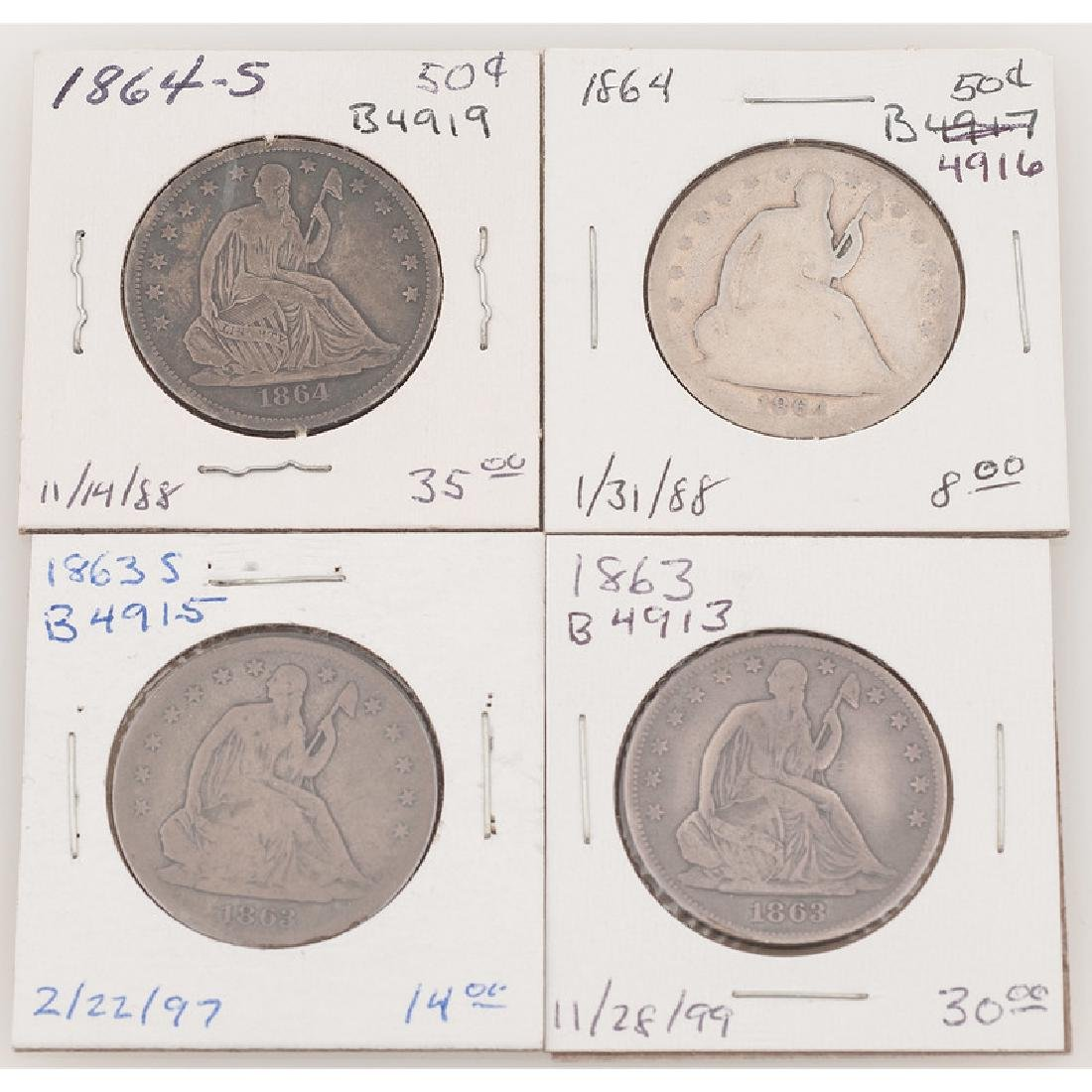 United States Liberty Seated Half Dollars 1863-1864