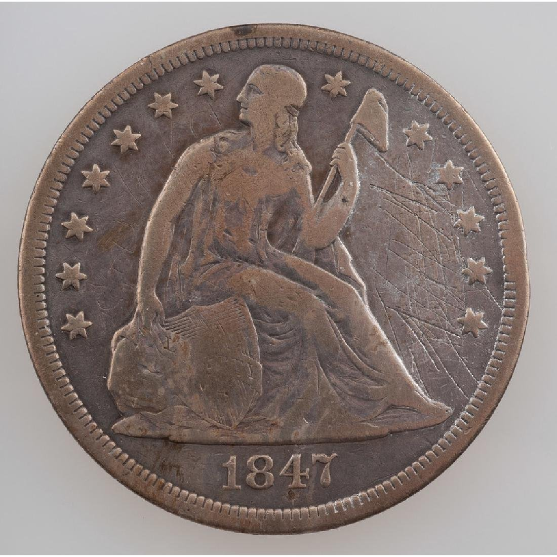 United States Liberty Seated Silver Dollar 1847