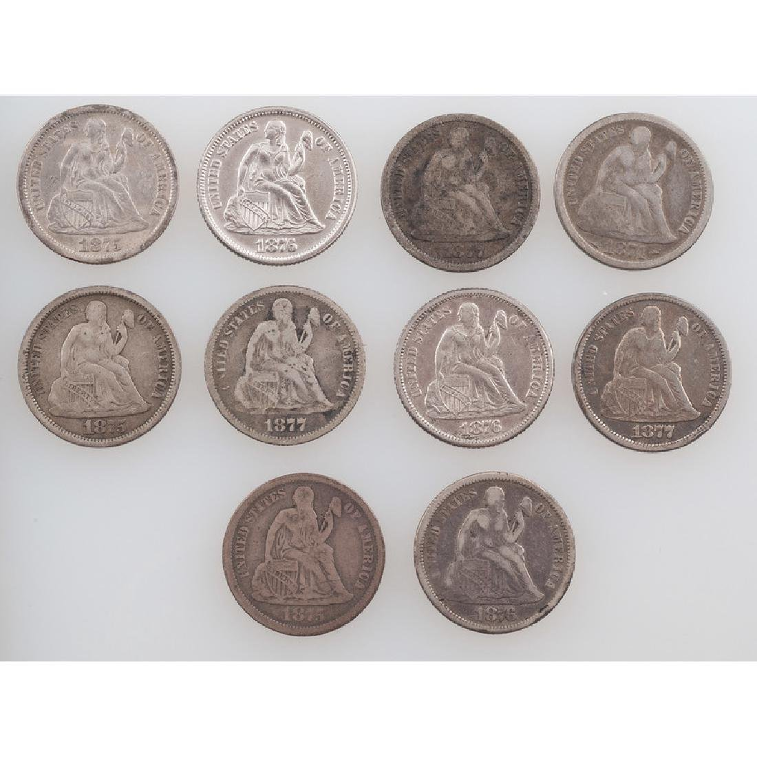 United States Liberty Seated Dimes 1874-1877