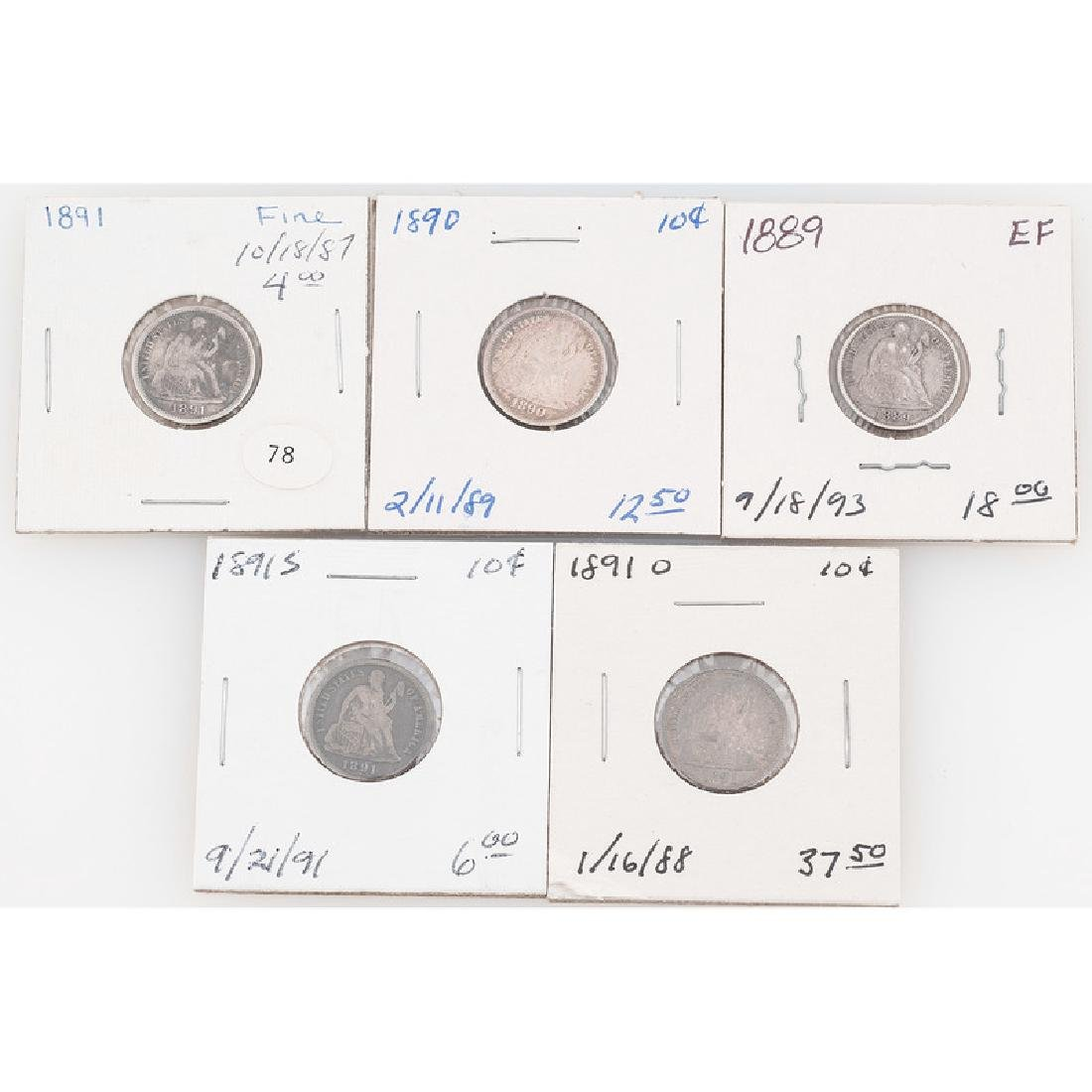 United States Liberty Seated Dimes 1889-1891