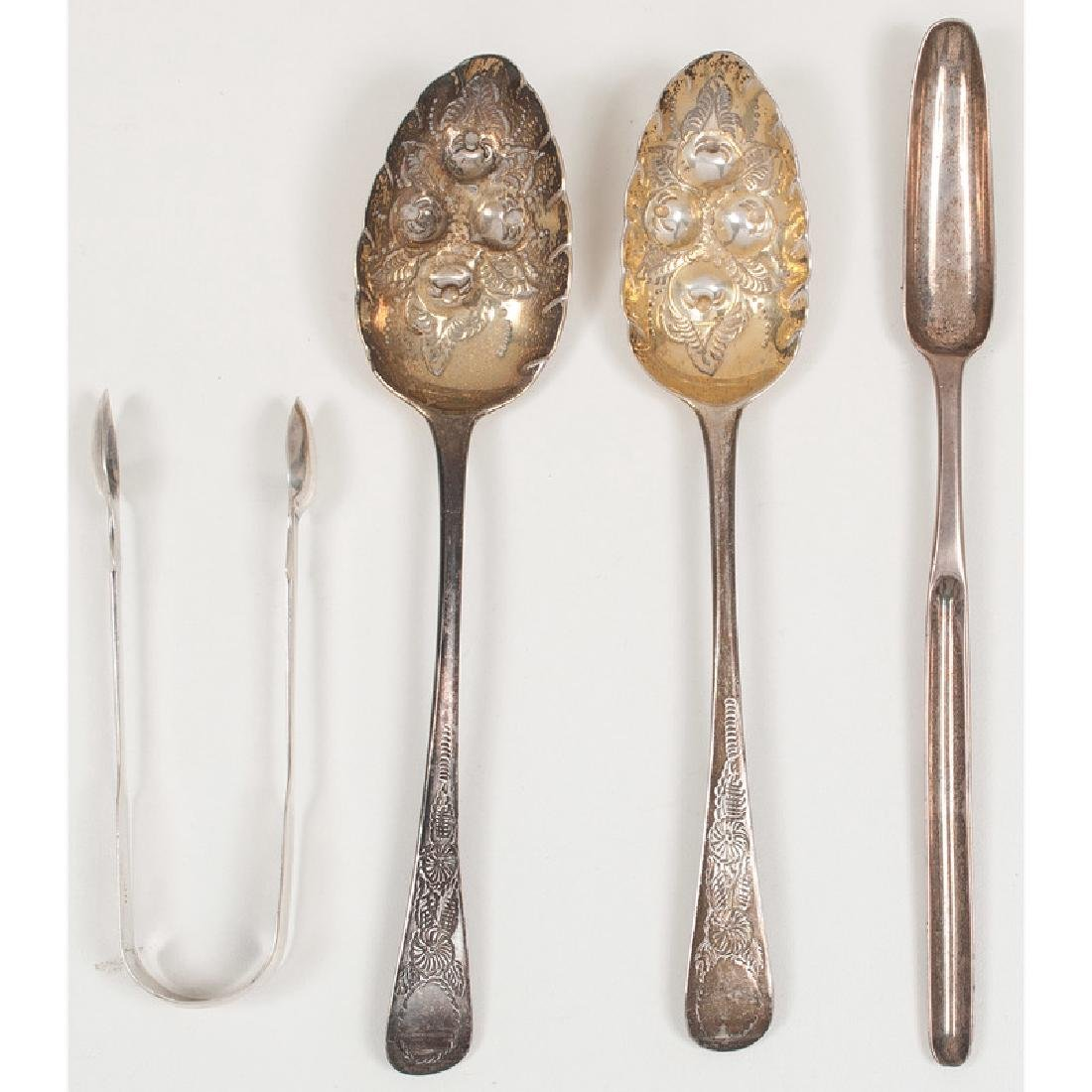 English Sterling Berry Spoons and Other Utensils