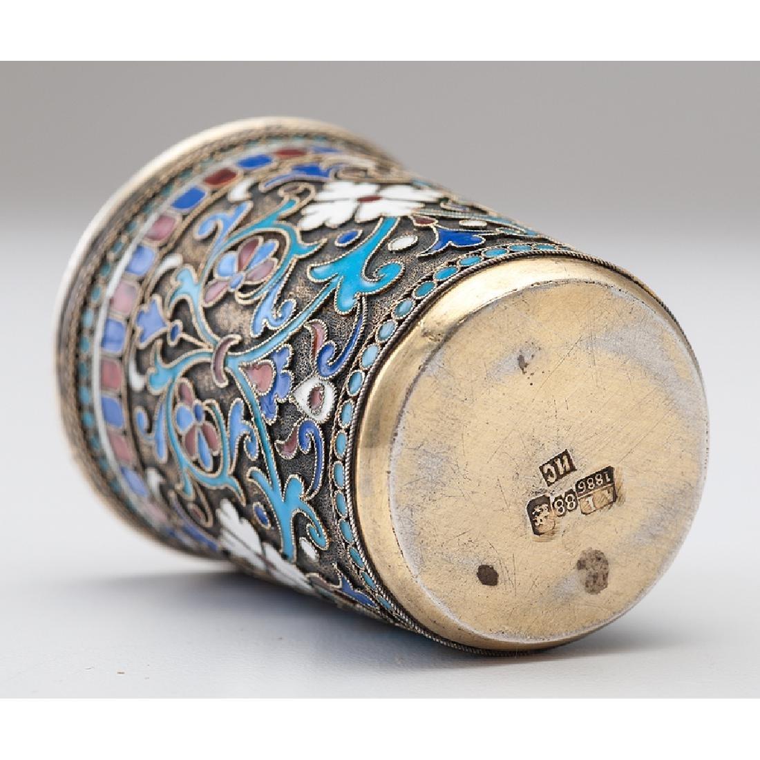 Russian Gilt Silver Enamel Beaker - 3