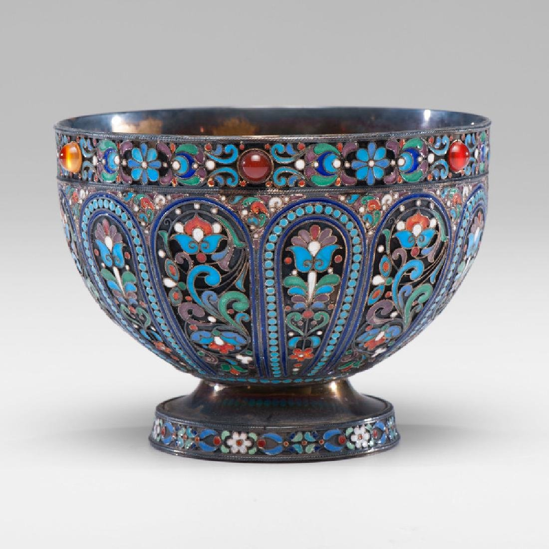 Russian Silver-Gilt and Enamel Footed Bowl