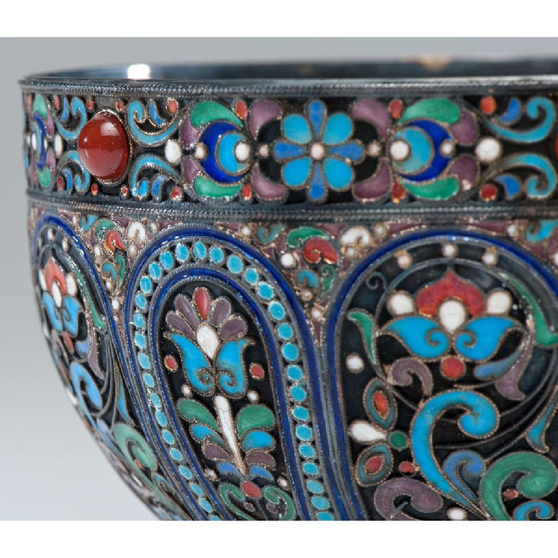 Russian Silver-Gilt and Enamel Footed Bowl - 3