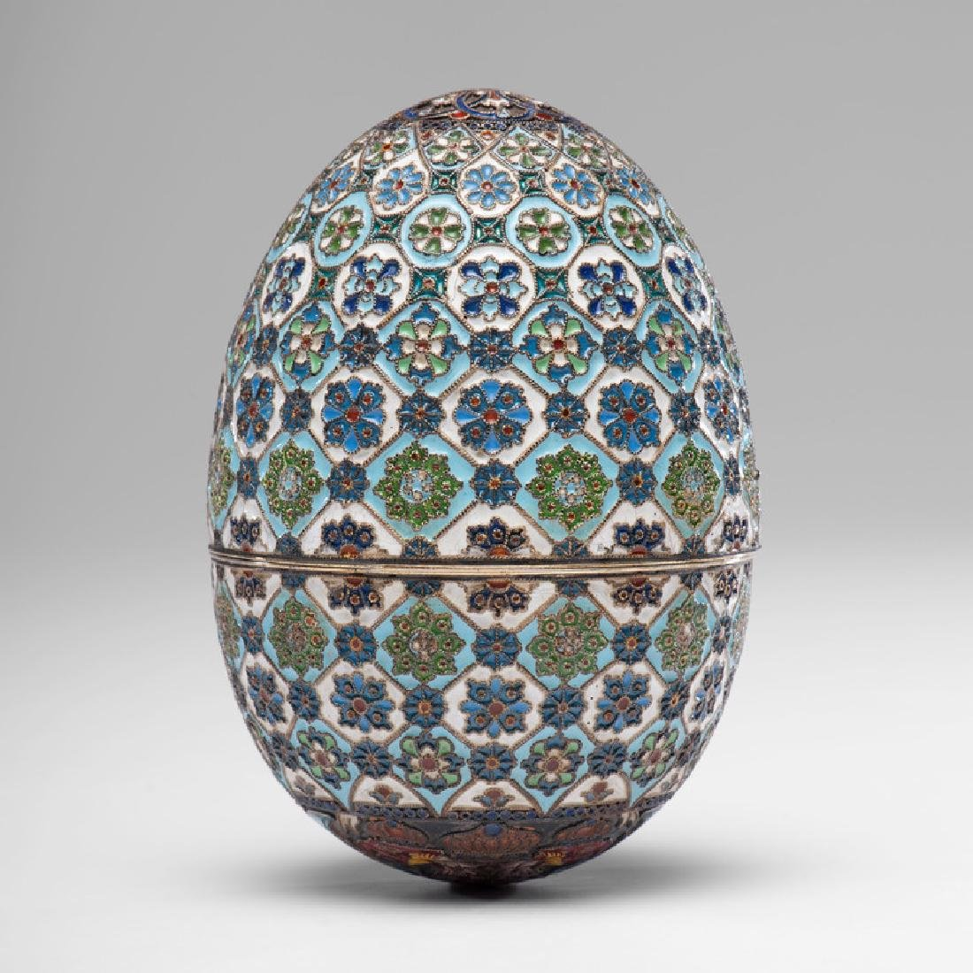 Russian Silver-Gilt and Enamel Egg