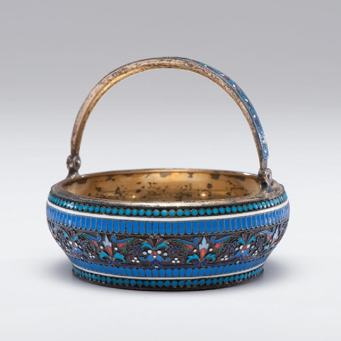 Russian Silver-Gilt and Enamel Basket