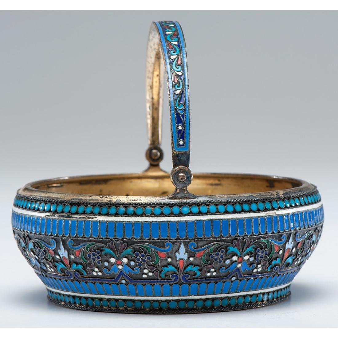 Russian Silver-Gilt and Enamel Basket - 3