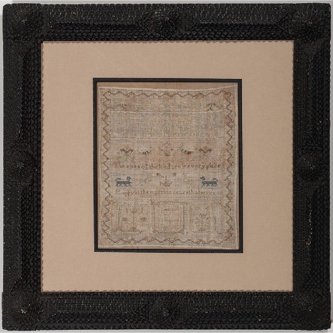 English Sampler in Tramp Art Frame