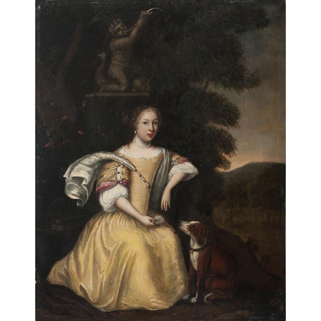 English Portrait of a Woman with Dog
