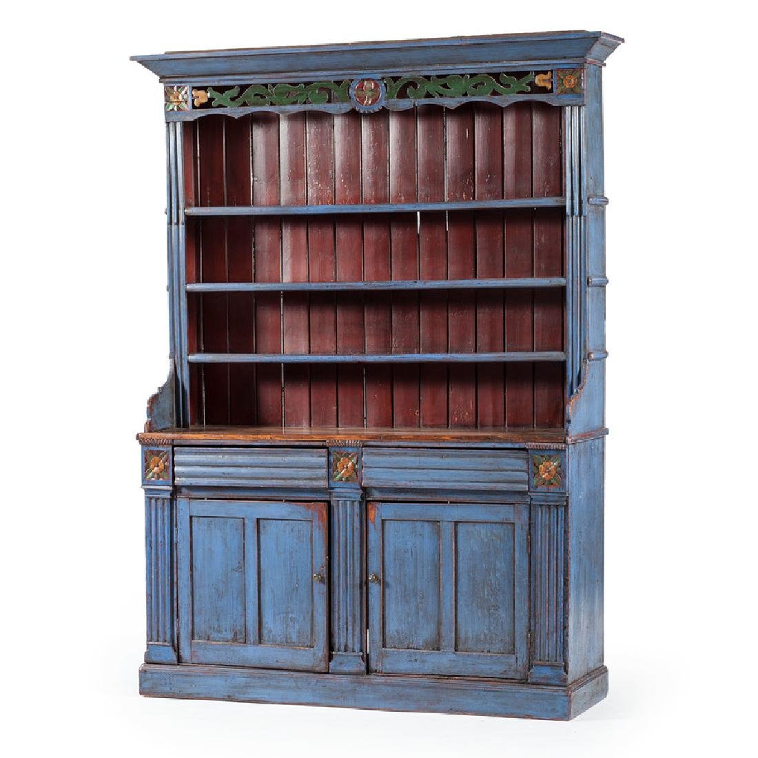 English Painted Pewter Cupboard