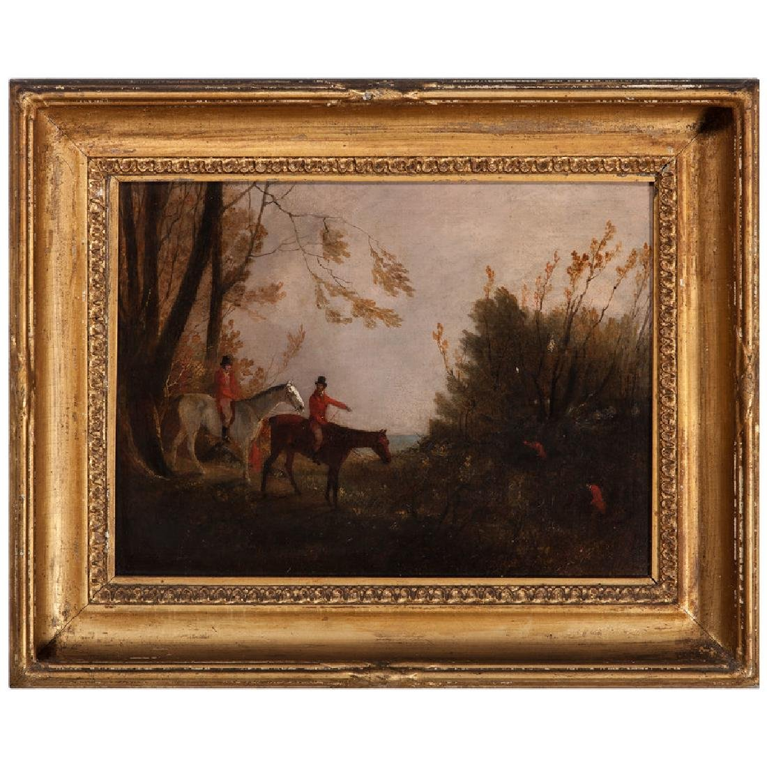 English Fox Hunt Scene in Original Gilt Frame