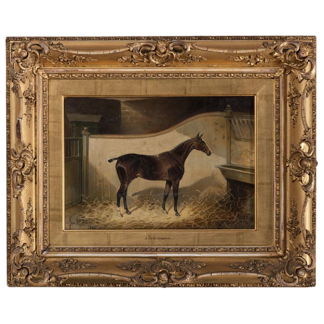 English Equestrian Painting Signed J. Hutchinson