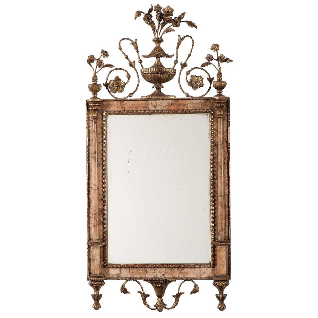 A Rare Bilbao Giltwood and Marble Mirror