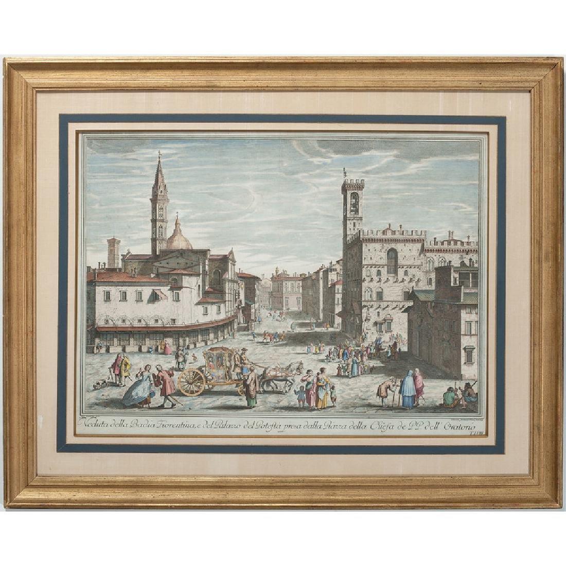 Giuseppe Zocchi Hand-Colored Engraving, Veduta Della